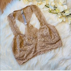 Free People Nude Lace Bralette Small